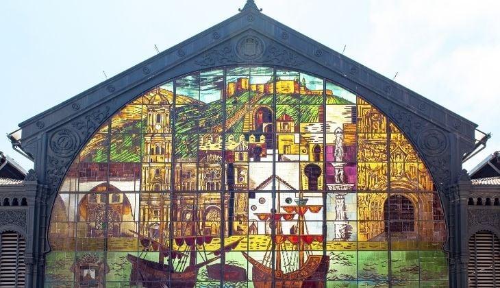 Stained glass window of Mercado Atarazanas, map historic centre of Malaga