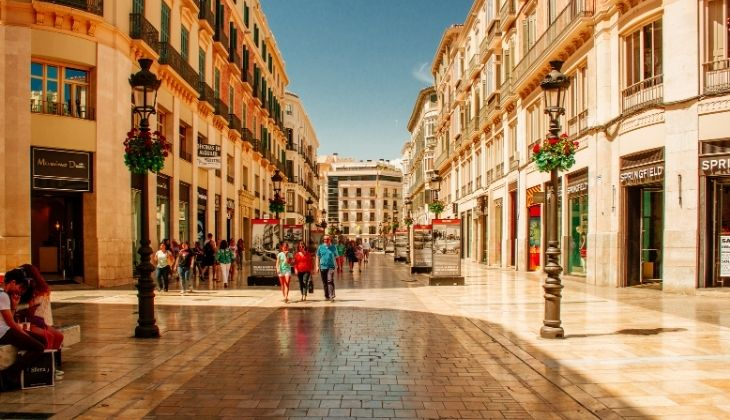 Calle Larios, map of Malaga historic centre