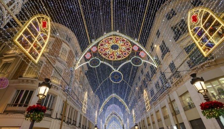 Calle Larios, winter in Malaga Spain