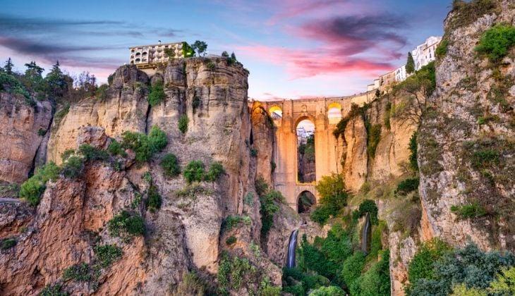 schöne Sonnenuntergänge in Tajo de Ronda in Malaga