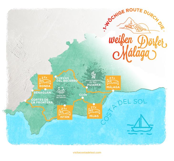 Infografik durch die weißen Dörfer Malagas
