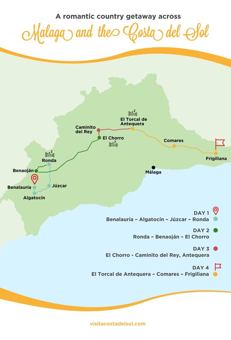 Romantic country getaways in Malaga and Costa del Sol