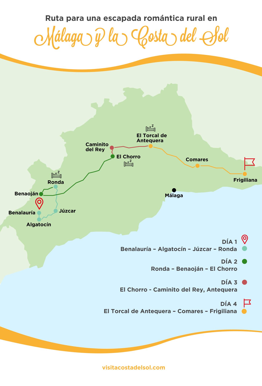 Ruta escapada romántica rural en Málaga