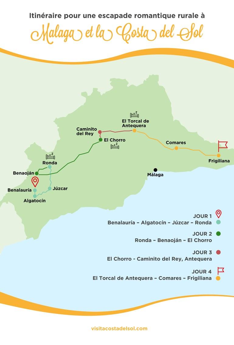 Route pour une escapade romantique rural à Malaga et sur la Costa del Sol